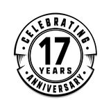 17 years anniversary logo template. 17th vector and illustration. 17 years anniversary celebration design template. Seventeen years celebrating vector and royalty free illustration