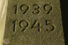 Years 1939 To 1945. The Years Of World War II Carved In Ston Stock Photo