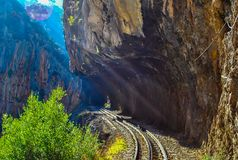 Odontotos rack railway Diakopto –Kalavrita, under the shadow of Helmos mountain. About 120 years ago Odontotos rack railway started from the seaside town Stock Images