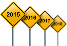 Years ahead road signs. Royalty Free Stock Images
