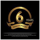 Six years anniversary golden. anniversary template design for web, game ,Creative poster, booklet, leaflet, flyer, magazine, invit royalty free illustration
