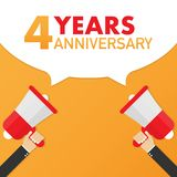 4 years anniversary - advertising sign with megaphone. Vector illustration. 4 years anniversary - advertising sign with megaphone. Vector stock illustration vector illustration