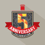 5 Years Anniversary Badge Design. Illustration Stock Photography