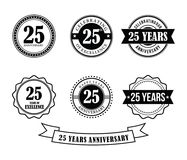 25 years anniversary badge emblem stamp vector. Set template Royalty Free Stock Images