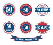 50 years anniversary badge emblem stamp vector. Set template Stock Photos