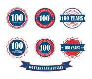 100 years anniversary badge emblem stamp vector. Set template royalty free illustration