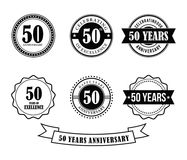 50 years anniversary badge emblem stamp vector. Set template Royalty Free Stock Images