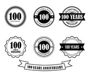 100 years anniversary badge emblem stamp vector. Set template stock illustration
