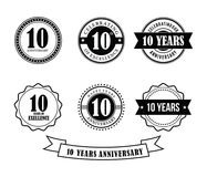 10 years anniversary badge emblem stamp vector. Set template Stock Photo