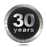 30 years anniversary badge - silver colour. Stock Photography