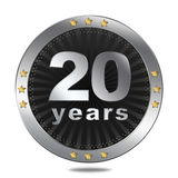 20 years anniversary badge - silver colour. Anniversary badge - shiny silver colour on white background Royalty Free Stock Photo