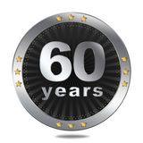 60 years anniversary badge - silver colour. Stock Photography