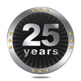 25 years anniversary badge - silver colour. Stock Image