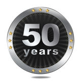 50 years anniversary badge - silver colour. Anniversary badge - shiny silver colour on white background Royalty Free Stock Images