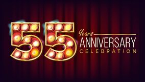 55 Years Anniversary Banner Vector. Fifty-five, Fifty-fifth Celebration. Shining Light Sign Number. For Party, Banner. Badge Design. Red Background stock illustration