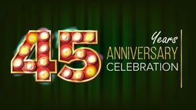 45 Years Anniversary Banner Vector. Forty-five, Forty-fifth Celebration. Glowing Lamps Number. For Business Cards. Postcards, Flyers, Gift Cards Design. Retro Royalty Free Stock Image