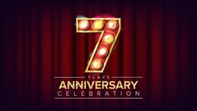 7 Years Anniversary Banner Vector. Seven, Seventh Celebration. Shining Light Sign Number. For Birthday Poster Template. Design. Red Background Illustration Vector Illustration
