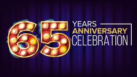 65 Years Anniversary Banner Vector. Sixty-five, Sixty-fifth Celebration. Vintage Golden Illuminated Neon Light Number. For Traditional Company Birthday Design royalty free illustration