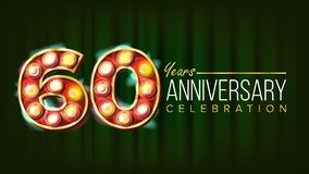 60 Years Anniversary Banner Vector. Sixty, Sixtieth Celebration. 3D Glowing Element Digits. For Flyer, Card, Wedding. Advertising Design. Green Background Royalty Free Stock Photos