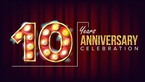 10 Years Anniversary Banner Vector. Ten, Tenth Celebration. Vintage Style Illuminated Light Digits. For Happy Birthday. Luxurious Advertising Design. Business Stock Images
