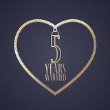 5 years anniversary of being married vector icon, logo. Graphic design element with golden color heart for decoration for 5th anniversary wedding stock illustration