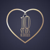 10 years anniversary of being married vector icon, logo. Graphic design element with golden color heart for decoration for 10th anniversary wedding Stock Image