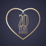 20 years anniversary of being married vector icon, logo. Graphic design element with golden color heart for decoration for 20th anniversary wedding Royalty Free Stock Image