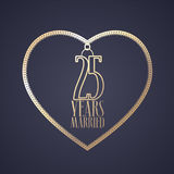 25 years anniversary of being married vector icon, logo. Graphic design element with golden color heart for decoration for 25th anniversary wedding Royalty Free Stock Photo