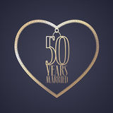 50 years anniversary of being married vector icon, logo. Graphic design element with golden color heart for decoration for 50th anniversary wedding vector illustration