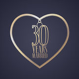 30 years anniversary of being married vector icon, logo. Graphic design element with golden color heart for decoration for 30th anniversary wedding stock illustration