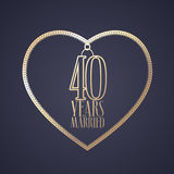 40 years anniversary of being married vector icon, logo. Graphic design element with golden color heart for decoration for 40th anniversary wedding Stock Image