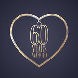 60 years anniversary of being married vector icon, logo. Graphic design element with golden color heart for decoration for 60th anniversary wedding vector illustration