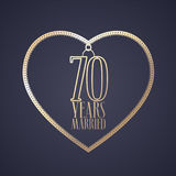 70 years anniversary of being married vector icon, logo. Graphic design element with golden color heart for decoration for 70th anniversary wedding stock illustration