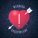 1 years anniversary of being married vector icon, logo. Graphic design element with red color heart and arrow for decoration for 1st anniversary wedding stock illustration