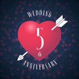 5 years anniversary of being married vector icon, logo. Graphic design element with red color heart and arrow for decoration for 5th anniversary wedding stock illustration