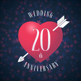 20 years anniversary of being married vector icon, logo. Graphic design element with red color heart and arrow for decoration for 20th anniversary wedding vector illustration