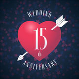 15 years anniversary of being married vector icon, logo. Graphic design element with red color heart and arrow for decoration for 15th anniversary wedding stock illustration