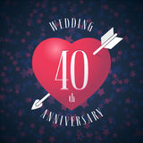 40 years anniversary of being married vector icon, logo. Graphic design element with red color heart and arrow for decoration for 40th anniversary wedding Stock Photo
