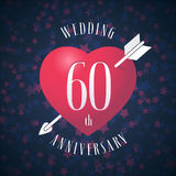 60 years anniversary of being married vector icon, logo. Graphic design element with red color heart and arrow for decoration for 60th anniversary wedding vector illustration