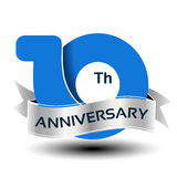 10 years anniversary, blue number with silver ribbon. Illustration stock illustration