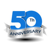 50 years anniversary, blue number with silver ribbon. Illustration Royalty Free Stock Image