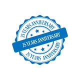 25 years anniversary stamp illustration. 25 years anniversary blue stamp seal illustration design Royalty Free Stock Photo
