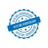10 years anniversary stamp illustration. 10 years anniversary blue stamp seal illustration design Royalty Free Stock Photography