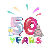 50 years anniversary. With cake. Vector illustration Royalty Free Stock Photo