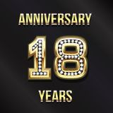 18 Years Anniversary Card Design Illustration. 18 Years Anniversary Card Design in Diamond Gold Lettering Stock Photography