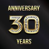 30 Years Anniversary Card Design. Vector Design. 30 Years Anniversary Card Design in Diamond Gold Lettering Royalty Free Stock Photography