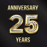 25 Years Anniversary Card Design. Vector Design. 25 Years Anniversary Card Design in Diamond Gold Lettering Stock Photo
