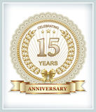 15 years anniversary. Card with 15 years with a laurel wreath royalty free illustration