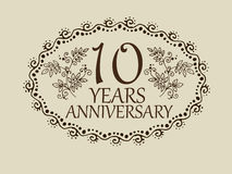 10 years anniversary card. 10 anniversary royal logo vintage design card element Stock Image