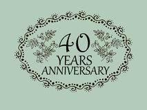 40 years anniversary card. 40 anniversary royal logo vintage design card element Royalty Free Stock Photography